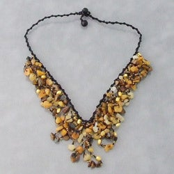 Tiger Eye Waterfall Cluster Necklace (Thailand)