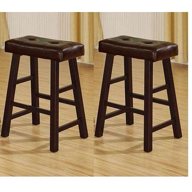 24 Inch Cherry Brown Bicast Leather Counter Height Saddle Bar Stools Set Of