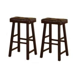 29inch cherry brown leather saddle bar stools set of 2