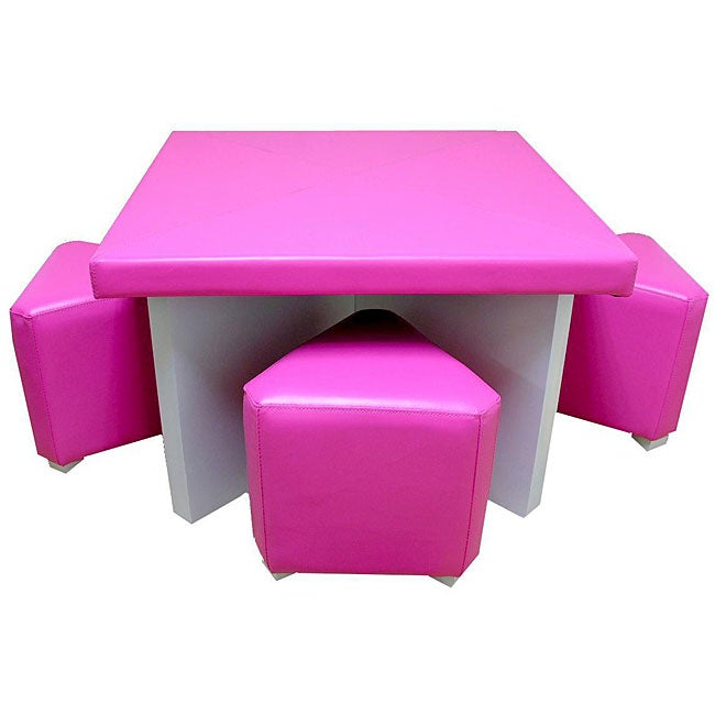 Children's Pink 5-piece Faux Leather Dining Set