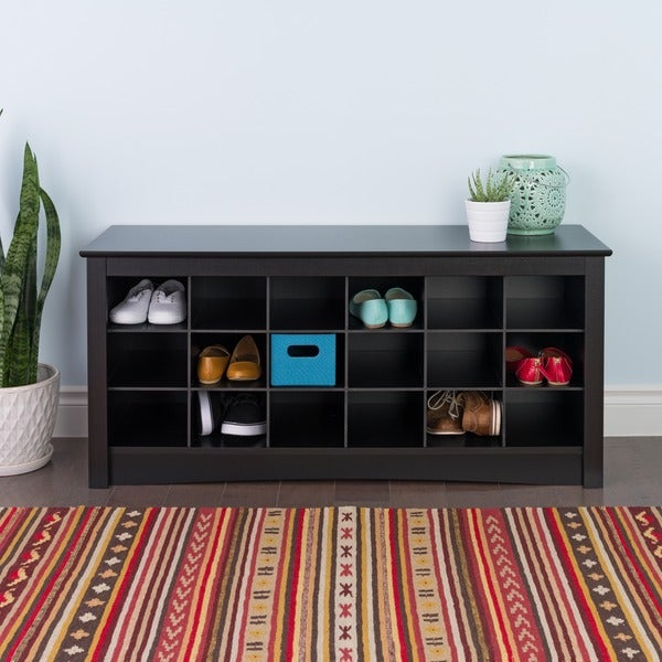 Broadway Black Shoe Storage Cubbie Bench Free Shipping