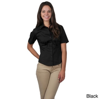 Journee Collection Women's Half-sleeve Fitted Blouse with Fold-Down Collar