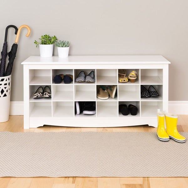Copper Grove Arrowstone White Shoe Storage Cubbie Bench N A