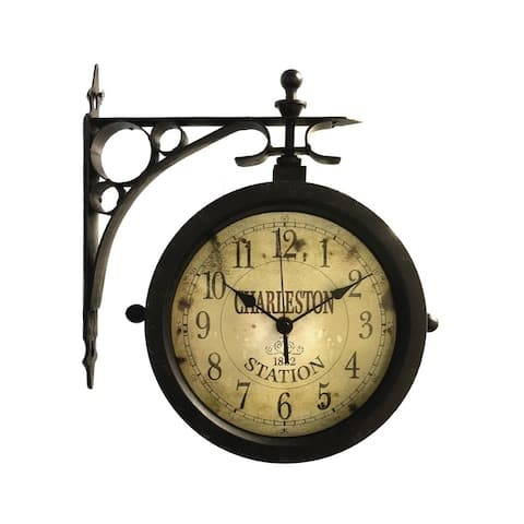 Charleston Indoor/Outdoor Wall Clock Thermometer - N/A