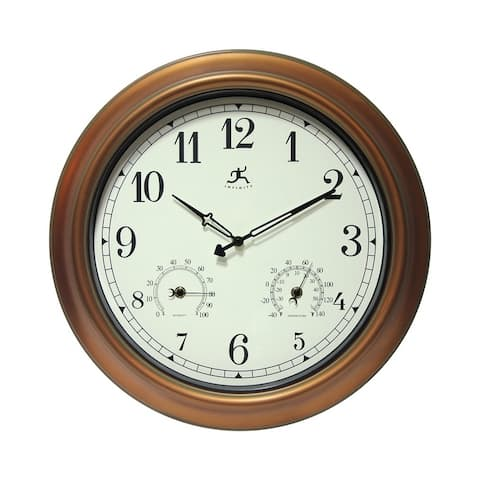 The Craftsman Indoor/Outdoor Wall Clock Thermometer 18 inch by Infinity Instruments