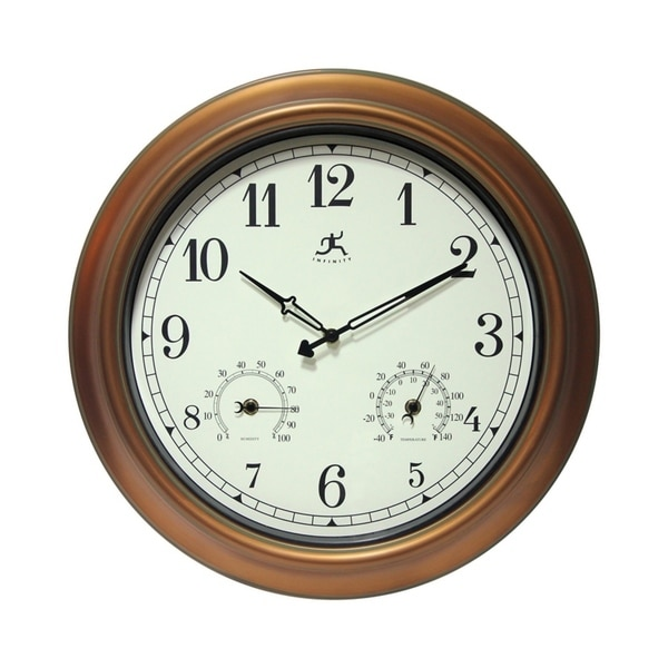 The Craftsman Indoor/Outdoor Wall Clock Thermometer 18 inch by Infinity Instruments - N/A