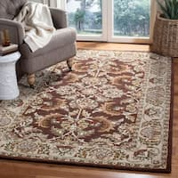 Safavieh Handmade Heritage Traditional Kerman Brown/ Ivory Wool Rug - 6' x 6' Round