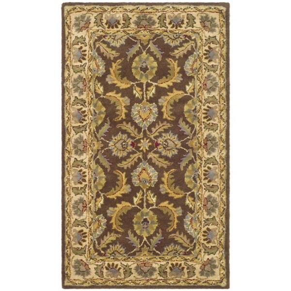 Safavieh Handmade Heritage Traditional Kerman Brown/ Ivory Wool Rug - 8' x 10'
