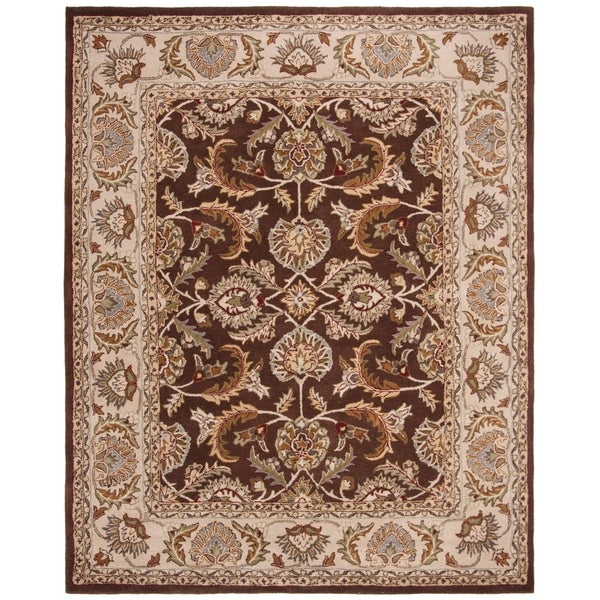 Safavieh Handmade Heritage Traditional Kerman Brown/ Ivory Wool Rug - 8' x 10'