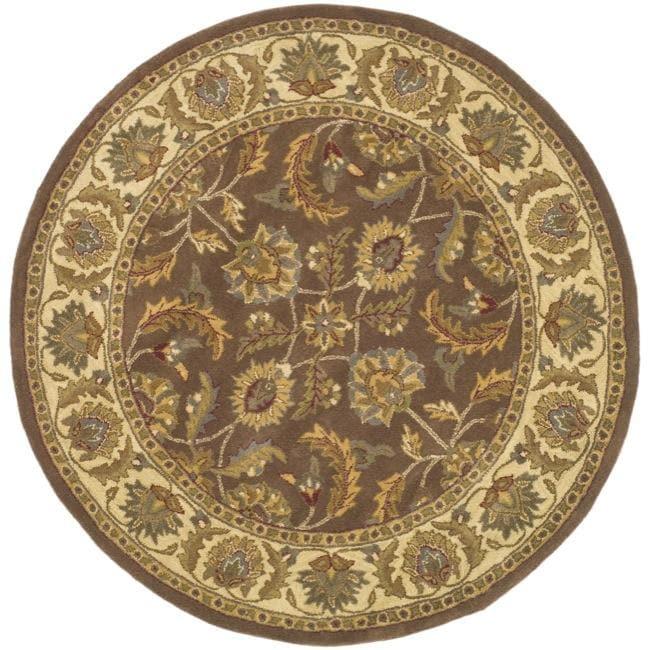 Safavieh Handmade Heritage Traditional Kerman Brown/ Ivory Wool Rug (8' Round)