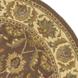 Safavieh Handmade Heritage Traditional Kerman Brown/ Ivory Wool Rug (8' Round) - Thumbnail 1