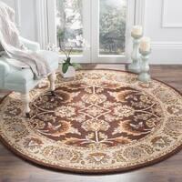 Safavieh Handmade Heritage Traditional Kerman Brown/ Ivory Wool Rug - 8' x 8' Round