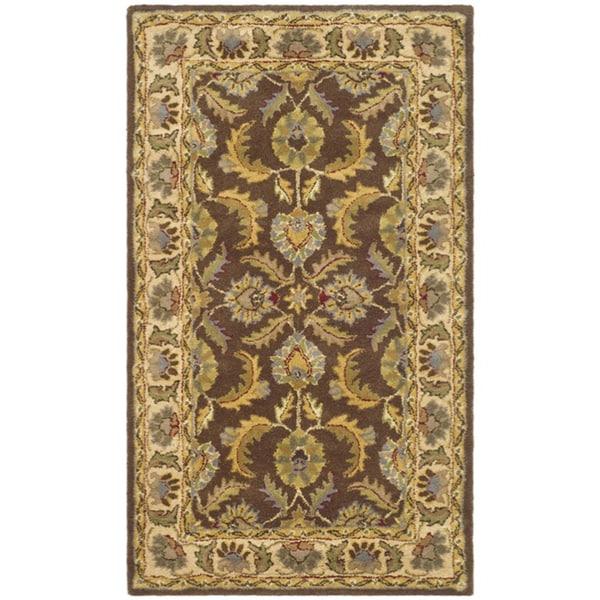 Safavieh Handmade Heritage Traditional Kerman Brown/ Ivory Wool Rug - 8' x 11'