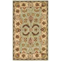 Safavieh Handmade Heritage Traditional Oushak Light Green/ Ivory Wool Rug - 3' x 5'