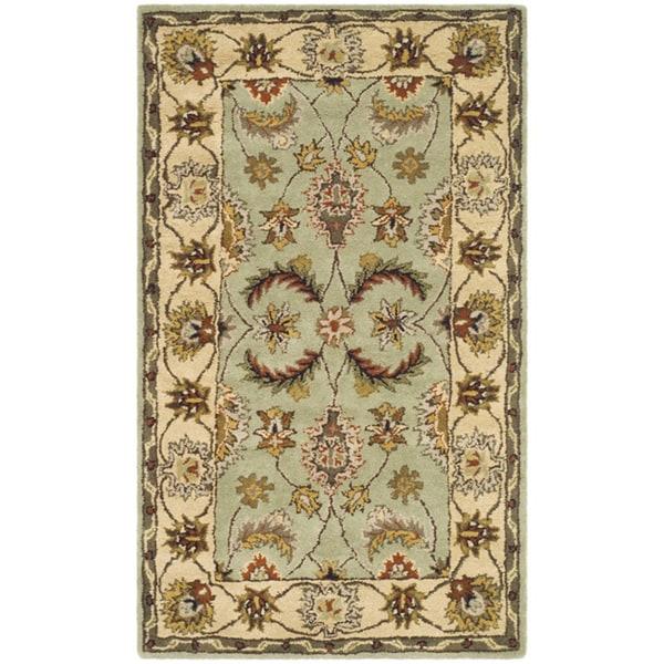 Safavieh Handmade Heritage Traditional Oushak Light Green/ Ivory Wool Rug (4' x 6')