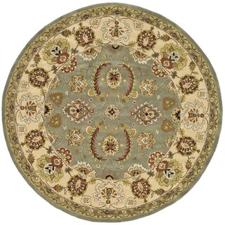 Safavieh Handmade Heritage Traditional Oushak Light Green/ Ivory Wool Rug (8' Round)