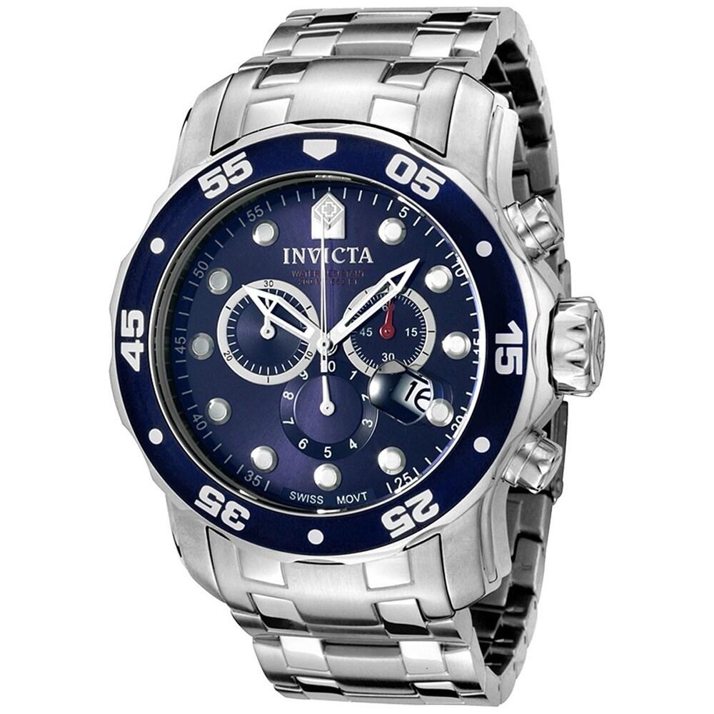Invicta Men's Pro Diver Chronograph Watch (Blue), Size On...
