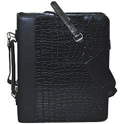 Thumbnail 1, Buxton Unisex Croc-embossed Leather Cal-Q Zip-around Fashion Folio.