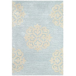Safavieh Contemporary Handmade Soho Medallion Light Blue New Zealand Wool Rug (2' x 3')