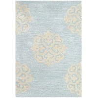 Safavieh Contemporary Handmade Soho Medallion Light Blue New Zealand Wool Rug (2' x 3') - 2' x 3'