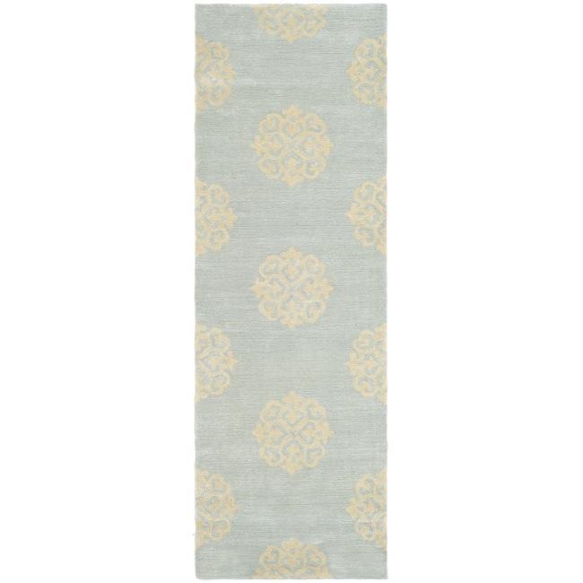 Safavieh Handmade Soho Medallion Light Blue N. Z. Wool Runner (2'6 x 10')