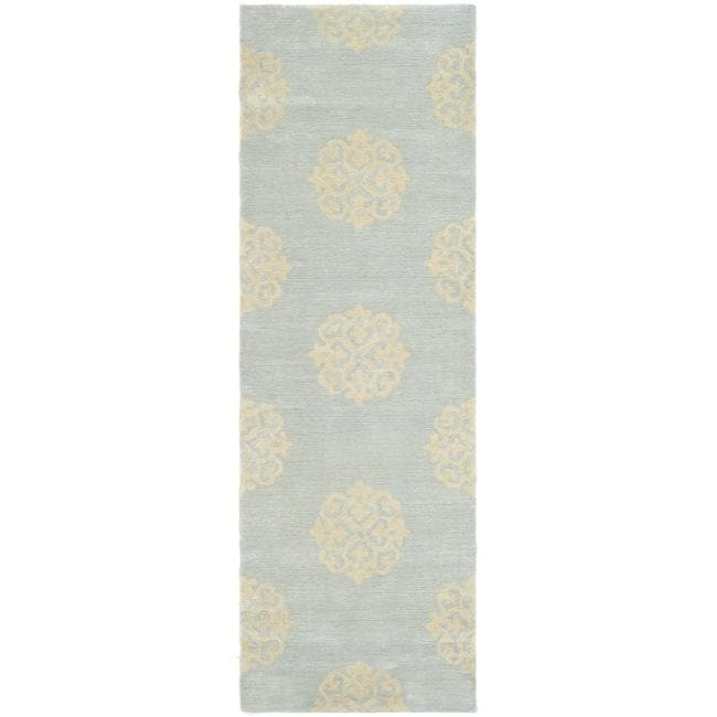 Safavieh Handmade Soho Medallion Light Blue N. Z. Wool Runner Rug - 2'6 x 12'