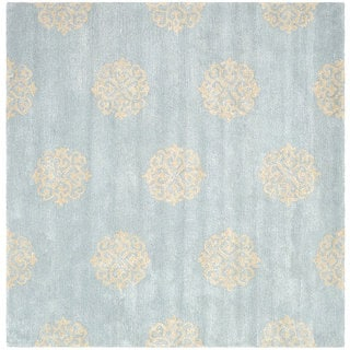 Safavieh Handmade Soho Medallion Light Blue N. Z. Wool Rug (8' Square)
