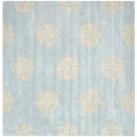 Safavieh Handmade Soho Medallion Light Blue N. Z. Wool Rug - 8' x 8' Square