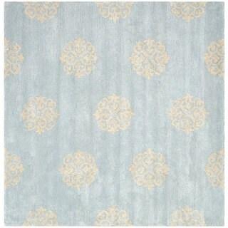 Safavieh Handmade Soho Medallion Light Blue N. Z. Wool Rug - 8' x 8' Square