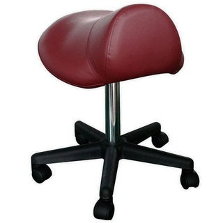 Pneumatic Burgundy Rolling Saddle Massage Stool