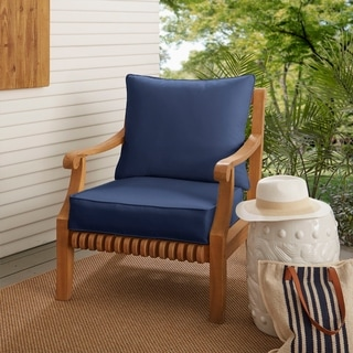 Clara Wicker Outdoor Arm Chair Cushion/ Throw Pillow Set With Sunbrella  Fabric