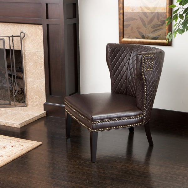 Tessa Brown Bonded Leather Quilted Chair
