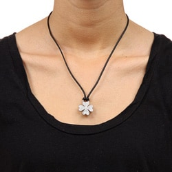 Rhodium-plated Brass Cubic Zirconia Clover Leaf Necklace - Thumbnail 2