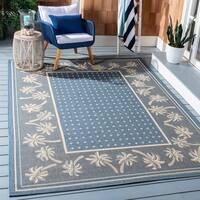 "Safavieh Courtyard Palm Tree Blue/ Ivory Indoor/ Outdoor Rug - 2'7"" x 5'"