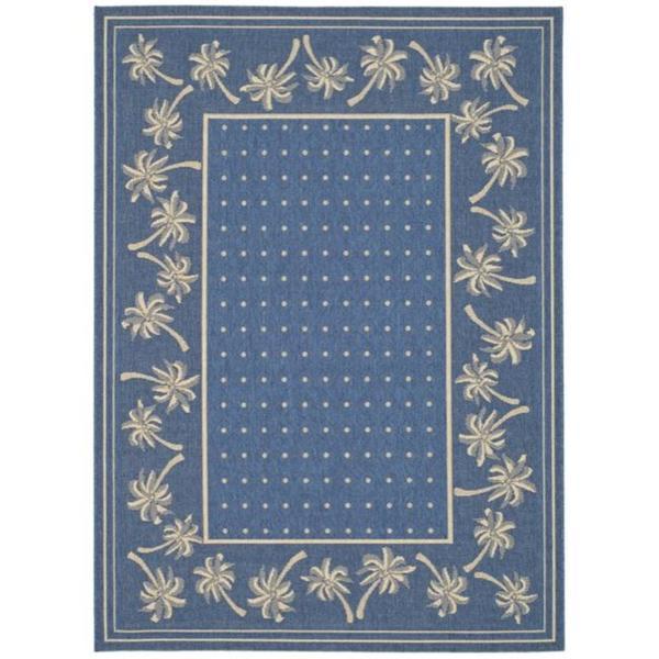 "Safavieh Courtyard Palm Tree Blue/ Ivory Indoor/ Outdoor Rug (2'7 x 5') - 2'7"" x 5'"