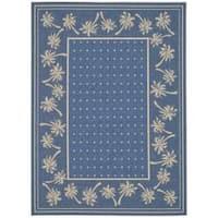 Safavieh Courtyard Palm Tree Blue/ Ivory Indoor/ Outdoor Rug - 4' x 5'7