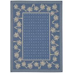 "Safavieh Courtyard Palm Tree Blue/ Ivory Indoor/ Outdoor Rug (5'3"" x 7'7"")"