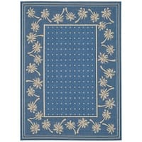 "Safavieh Courtyard Palm Tree Blue/ Ivory Indoor/ Outdoor Rug - 5'-3"" x 7'-7"""