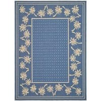 Safavieh Courtyard Palm Tree Blue/ Ivory Indoor/ Outdoor Rug - 6'7 x 9'6