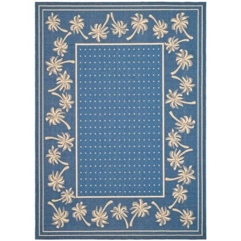 "Safavieh Courtyard Palm Tree Blue/ Ivory Indoor/ Outdoor Rug - 6'7"" x 9'6"""