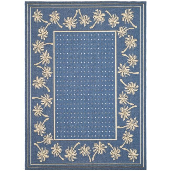 Safavieh Courtyard Palm Tree Blue/ Ivory Indoor/ Outdoor ...