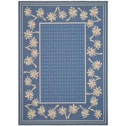 Safavieh Courtyard Palm Tree Blue/ Ivory Indoor/ Outdoor Rug - 7'10 x 11' - Thumbnail 0
