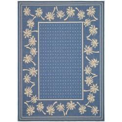Safavieh Courtyard Palm Tree Blue/ Ivory Indoor/ Outdoor Rug (8u0027 X 11