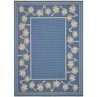 Safavieh Courtyard Palm Tree Blue/ Ivory Indoor/ Outdoor Rug (8' x 11') - 7'10 x 11'