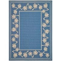 Safavieh Courtyard Palm Tree Blue/ Ivory Indoor/ Outdoor Rug - 8' X 11'