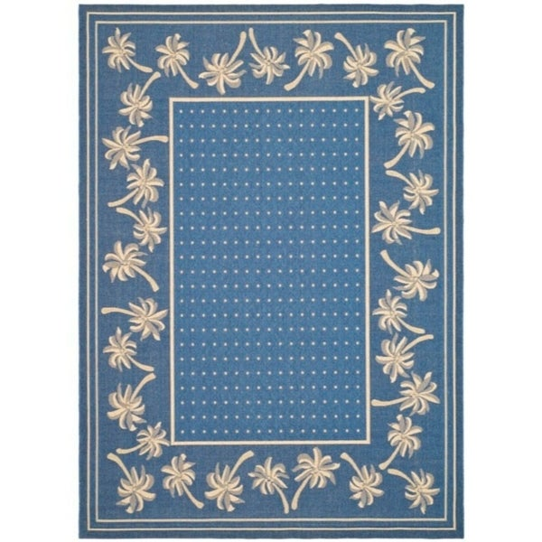 Shop Safavieh Courtyard Palm Tree Blue Ivory Indoor