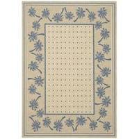 "Safavieh Courtyard Palm Tree Ivory/ Blue Indoor/ Outdoor Rug (4' x 5'7) - 4' x 5'7"""