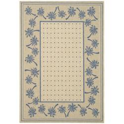 Safavieh Courtyard Palm Tree Ivory/ Blue Indoor/ Outdoor Rug (4' x 5'7) - 4' x 5'7""