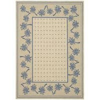 Safavieh Courtyard Palm Tree Ivory/ Blue Indoor/ Outdoor Rug - 5'3' x 7'7'