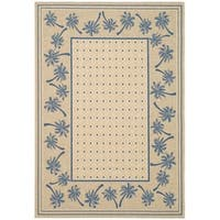 "Safavieh Courtyard Palm Tree Ivory/ Blue Indoor/ Outdoor Rug - 5'-3"" x 7'-7"""